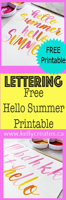 Hello Summer free printable lettering template worksheet www.kellycreates.ca
