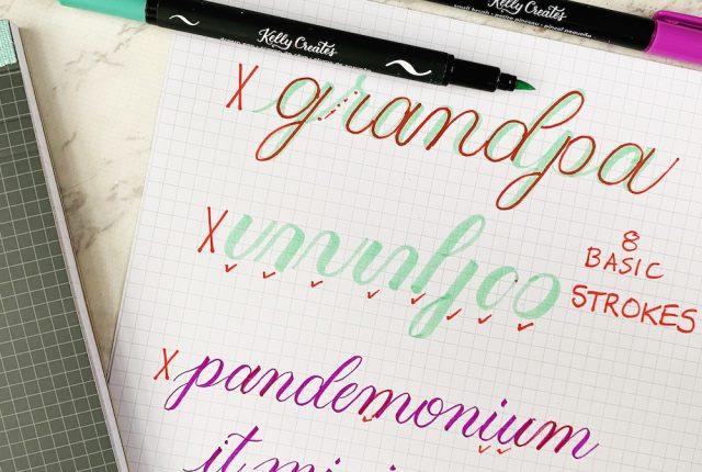 free printable modern calligraphy worksheet template practice lettering www.kellycreates.ca
