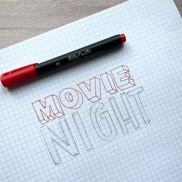 how to draw simple marquee letters for a popcorn movie night theme tutorial www.kellycreates.ca