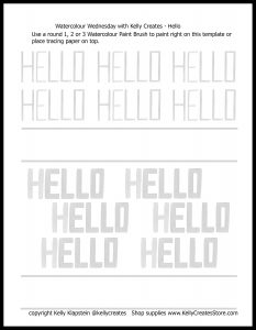watercolour lettering hello block style how to practice free printable worksheet www.kellycreates.ca