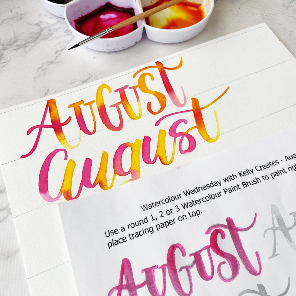 how to letter A with watercolour and free printable worksheet August www.KellyCreates.ca