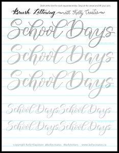 free back to school printable worksheet kellycreates brush lettering tracing template www.kellycreates.ca