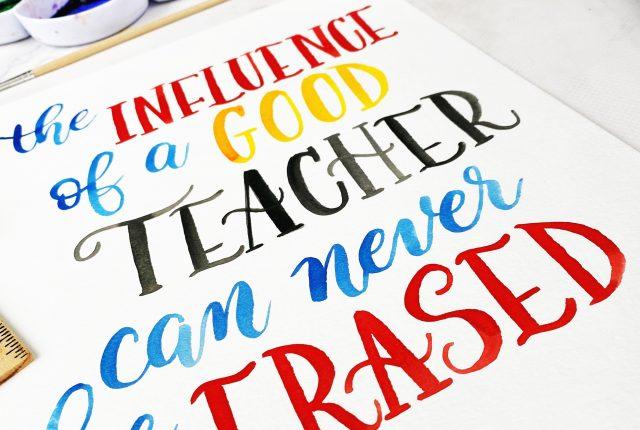 teacher quote lettering free template practice worksheet www.kellycreates.ca