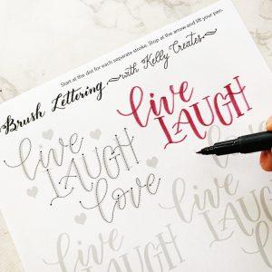 Free printable modern calligraphy hand lettering worksheet live laugh love www.kellycreates.ca