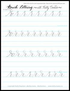 lowercase r modern calligraphy printable template worksheet www.kellycreates.ca