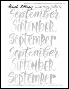 free printable lettering worksheet September Kelly Creates 2021 www.kellycreates.ca