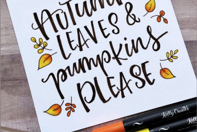 Autumn Leaves Quote fall hand lettering free printable template www.kellycreates.ca